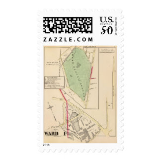 N Burial Ground and Woonsocket Company Atlas Map Postage