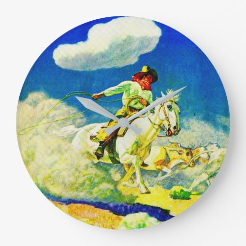 N. C. Wyeth cowboy Large Clock