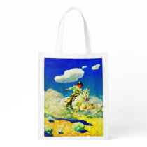 N. C. Wyeth cowboy print Grocery Bag