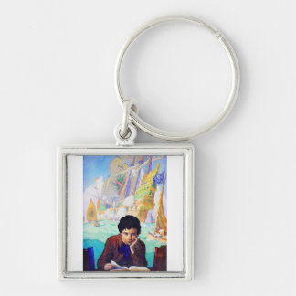 N C Wyeth's Tales Of Adventure Silver-Colored Square Keychain