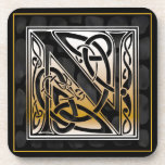 'N' Celtic Black Stone Monogram Coasters Coaster