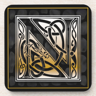 'N' Celtic Black Stone Monogram Coasters Coaster