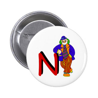 N Clown Pinback Button