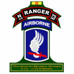 """N Co, 75th Infantry Regiment - Rangers, Vietnam Cutout<br><div class=""""desc"""">Cut outs for desk or other display featuring a variety of Ranger graphics from beret flash,  tabs,  scrolls,  etc.</div>"""