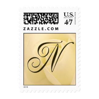 N - Custom Monogram Postage White Rose