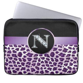 "N ""Diamond"" Purple Leopard & Ribbon Electronics Computer Sleeves"