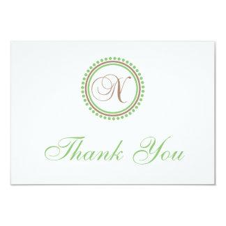 N Dot Circle Monogam Thank You Cards (Brown/Mint)