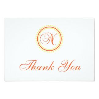N Dot Circle Monogam Thank You (Orange / Yellow) Card