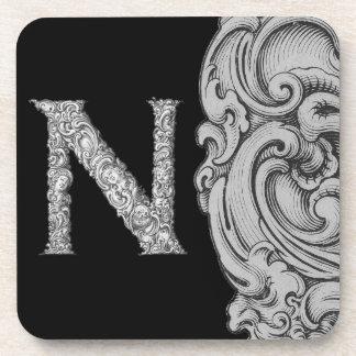 N - El alfabeto de Falck (plateado) Posavasos