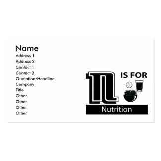 N está para la nutrición plantilla de tarjeta personal