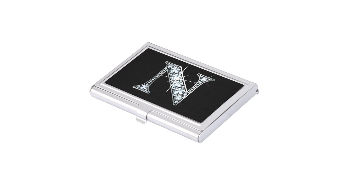 N faux quotdiamond blingquot business card holder zazzle for Bling business card holder