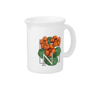 N for Nasturiums Flower Alphabet Monogram Beverage Pitchers