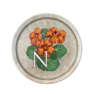 N for Nasturiums Flower Alphabet Monogram Porcelain Plate