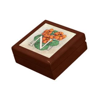 N for Nasturtium Flower Monogram Jewelry Box