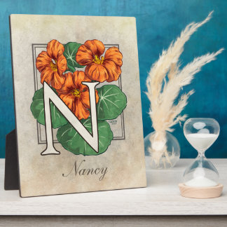 N for Nasturtium Flower Monogram Plaque