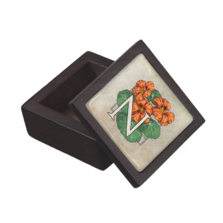 N for Nasturtium Flower Monogram Premium Keepsake Boxes