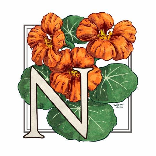 N for Nasturtium Flower Monogram Statuette