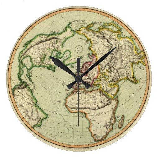 N. Hemisferio, avión de Londres Reloj Redondo Grande
