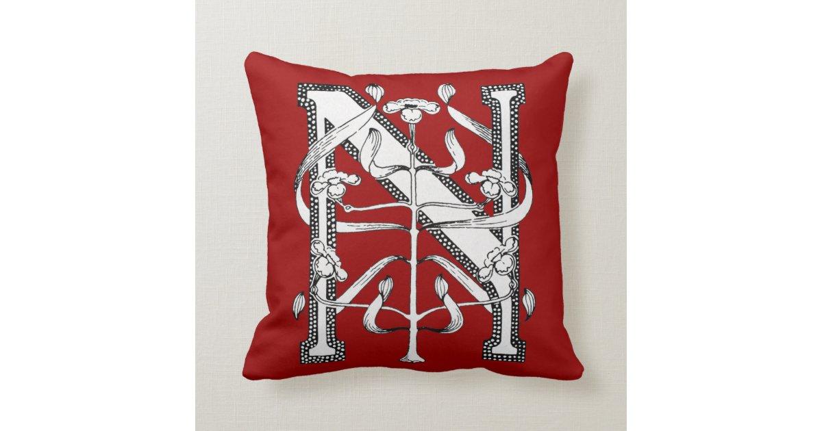 Decorative Initial Pillows : N Initial Cap Decorative Floral Design Vintage Pillow Zazzle