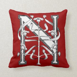 N Initial Cap Decorative Floral Design Vintage Throw Pillow