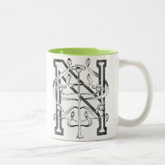 N Initial Cap Decorative Floral Design Vintage Two-Tone Coffee Mug