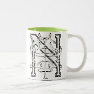 N Initial Cap Decorative Floral Design Vintage Two-Tone Coffee Mug