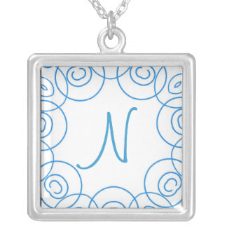 """N"" initial in Blue Scroll on White, Fun Design Pendants"