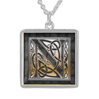 "N Initial Monogram ""Celtic Black Stone"" Necklaces Jewelry"