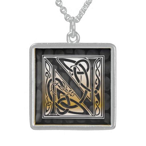 "N Initial Monogram ""Celtic Black Stone"" Necklaces"