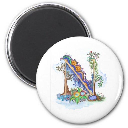 N, initial, monogram, wedding 2 inch round magnet