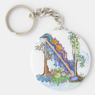N, initial, monogram, wedding keychain