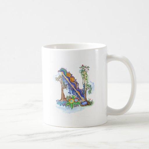 N, initial, monogram, wedding classic white coffee mug