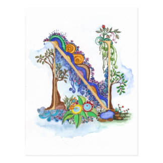 N, initial, monogram, wedding postcard