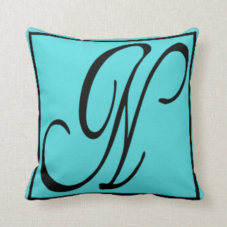 N INITIAL PILLOW - Letter N on Aqua Background