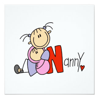 N is for Nanny 5.25x5.25 Square Paper Invitation Card
