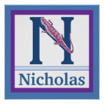 N is for Newt and Boy Name Wall Art for Kids Print