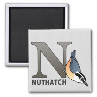N is for Nuthatch 2 Inch Square Magnet