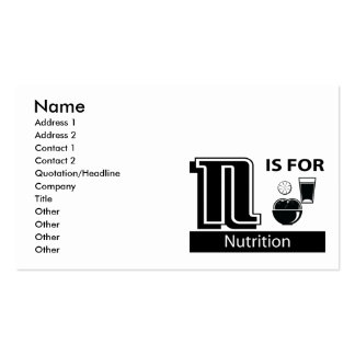 N Is For Nutrition Business Cards