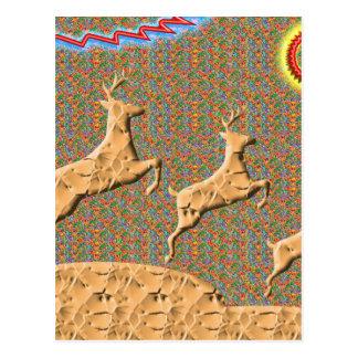 N juguetona que compite con ciervos tarjeta postal