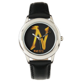 """N"" Kid's Stainless Steel Leather Strap Watch"