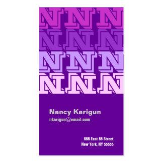 N Letter Alphabet Business Card Purple