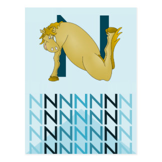 N Letter  Light blue card Flexible pony bunting. Postcard