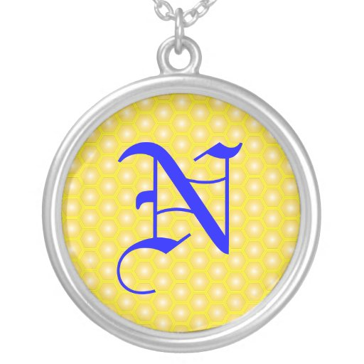 N LETTER ON HONEYCOMB CUSTOM NECKLACE