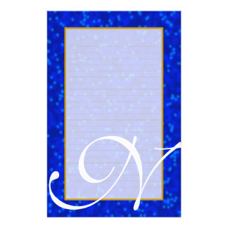 "N Monogram ""Blue Bubbles"" Fine Lined Stationery"