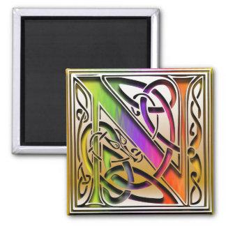 """N Monogram """"Celtic Rainbow"""" Square Magnet"""