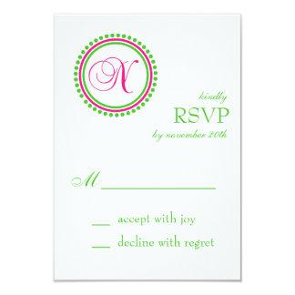 N Monogram Dot Circle RSVP Cards (Hot Pink / Lime)