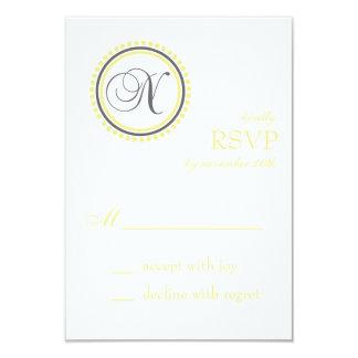 N Monogram Dot Circle RSVP Cards (Yellow / Gray)