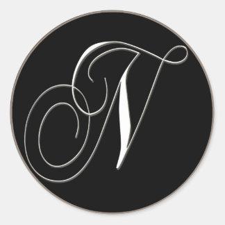 N monogram - elegant black and white classic round sticker