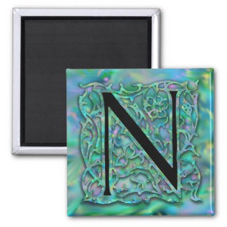 """N Monogram """"Green Garden Besque"""" Square Magnet"""