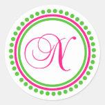 N Monogram (Hot Pink / Green Dot Circle) Classic Round Sticker